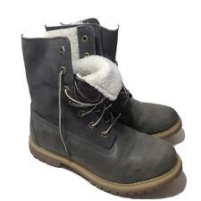 Womens Timberland Lined Work Boots Gray Leather Size 8