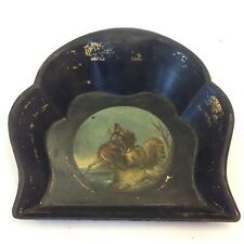 Antique Hand Painted Papier-mâché Crumb Scoop / Tray Painted With Fighting Stags