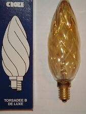 Ampoule Flamme Torsadee Géante B de Luxe SUDRON LAMPE CROZE E14 60W ambre NEUVE