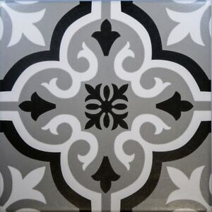 Braga Grey & Black Porcelain Wall & Floor Tiles 20 X 20 cm / Sqm
