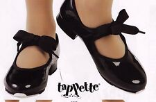 MainStreet tap shoes 3505 ladies szs Black Patent elastic inset ribbon tie