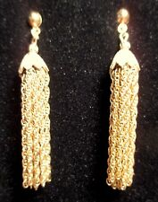 Streams of Chains Dangle Pierced Earrings Stud Back Gold Tone Chain Link
