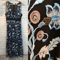 Sandro Dress Gown Size 1 Black Blue Mesh Sheer Sleeveless Floral Applique Sequin