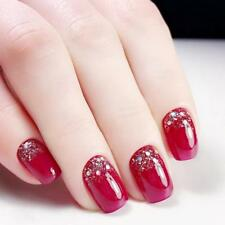 Acrylic Artificial Fake Nails For Women Top Quality Red Glittered Pre-design New