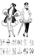 """Adult Coloring Cards Book (24 pages 6""""x8"""") Vintage Fashion Art Deco FLONZ 033"""
