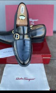 Ferragamo Mens Black Shoes 12D Slip On Monk Strap Gold Buckle Luxury Slip On