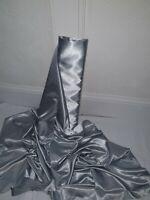 "Dress Craft Material 58/"" SC121 GREY Lightweight Silky Plain Poly Satin Fabric"
