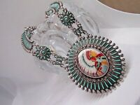 SOUTHWEST INDIAN TRIBAL NECKLACE SET CHIEF HEADDRESS SILVER TURQUOISE WESTERN