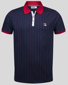 Fila Vintage BB1 Borg Polo in Peacoat Blue & Red