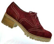 Dilav Maroon Suede Wingtip Oxford Heeled Shoes Espana Women's 40