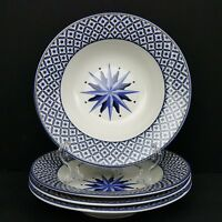 Victoria Beale Williamsburg Blue Starburst 4 Soup Bowls AS IS More Pieces Avail