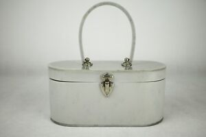 Vintage 1950s Wilardy Grey Glossy Lucite Diamante Insets Box Bag