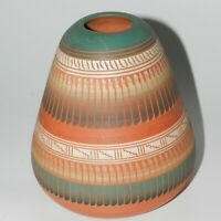 Native American Navajo Pottery Vase Pot Signed Robinson Valencia Etsitty Etched