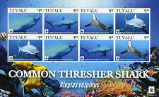 Tuvalu 2016 MNH Common Thresher Shark WWF 8v M/S Marine Sharks Fish Stamps