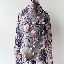 3D Flower Tulle Lace Fabric Venice Black Mesh Gauze DIY Wedding Dress 1 Yards