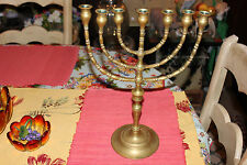"""Vintage Brass Menorah Candle Holder-Holds 7 Candles-16"""" Tall-Judaism"""