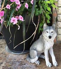 "Large 14"" Tall Sitting Gray Wolf Statue Figurine Hunter Gift Cabin Patio Garden"