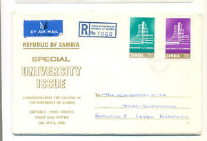Zambia 1966 FDC University issue registered sent to Netherlands