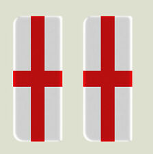 2x England Full Flag - Gel Domed Number Plate Badges/Decals 107x42mm