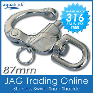 316 STAINLESS STEEL 87mm SWIVEL SNAP SHACKLE - Boat/Sailing/Yacht/Sail/Shade