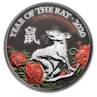 """Great Britain 2020 2£ """"Year of the Rat"""" 1 Oz Ruthenium Silver Coin"""