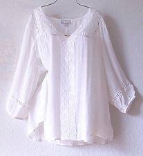 NEW~Ivory White Crochet Lace Peasant Blouse Shirt Plus Boho Top~28/30/26/3X