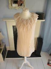 Angel Eye mini shift Dress baby pink flower petal neckline beads Size S/M uk 10