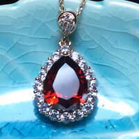 Red Ruby Teardrop Pear Diamond Halo Pendant Chain Necklace 14K Yellow Gold YR11