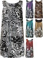 New Plus Womens Sequin Print Ladies Bubble Hem Long Sleeveless Vest Top 14-28