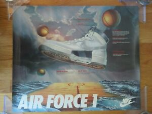 Early Promotional Nike AIR FORCE ONE Basketball Sneaker Poster MICHAEL JORDAN