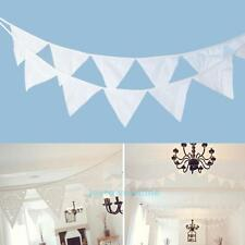 12 Flags 3.2m White Cotton Birthday Wedding Party Pennant Bunting Banner Decor