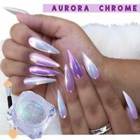 DIY Aurora Nail Art Pigment Glitter Mirror Mermaid Chrome Powder Dust Gel Polish