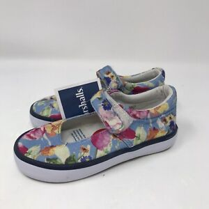 Polo Ralph Lauren Mary Jane Floral Baby Girl Blue Size 6 Shoes New