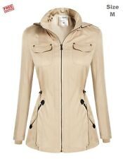 New Angvns Women Hooded Zipper Closure Windbreak Coat Size M