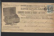 CHICAGO,ILLINOIS 1CT BANKNOTE, FULL ADVT COVER,McINTOSH GALVANIC FARADIC BATTERY