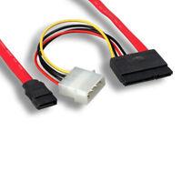 """Kentek 18"""" SATA Data Cable w/ Molex Power 26 AWG 7/15 Pin to 7/4 Pin PC Mac HDD"""