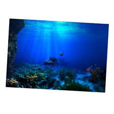Aquarium Fish Tank Background Poster Blue Sea Landscape 76x46cm