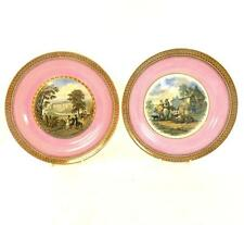 PAIR ANTIQUE F & R PRATT POTTERY PLATES DUKE WELLINGTON STRATFIELD SAYE HOUSE