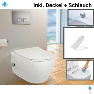Spülrandloses Taharet Dusch WC inkl. Armatur + Sitz Toilette mit Bidet Funktion