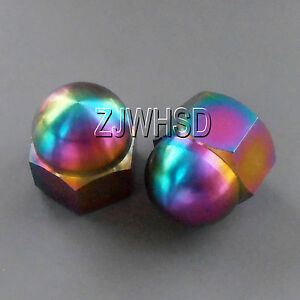 2pcs M10 Rainbow Titanium Ti Acorn Hex Cap Nut / Aerospace Grade Colorful Bike