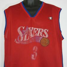 Vintage Champion NBA Philadelphia Sixers 76ERS Jersey Allen Iverson 3 Size 48