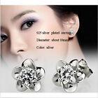 Fashion Women Elegant Crystal Rhinestone Rose Flower Pierced Ear Stud Earrings