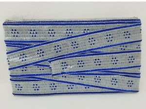 Bolt of 10 Yds VTG Silver & Metallic Blue Sequin Craft Sewing Ribbon Fringe Trim