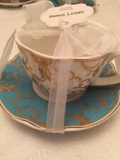 ONE GRACE'S TEAWARE WHITE WITH TEAL AND GOLD SCALLOPED CUP&SAUCER -NEW,FREE SHIP