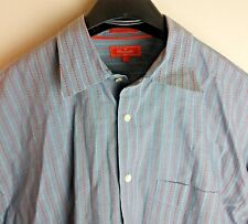 Façonnable Men's XL Red Grey Striped Button Pointed Collar Shirt