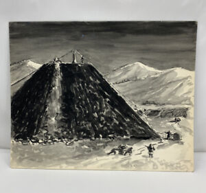 Pen & Ink Drawing Painting Soviet Prison Camp Gulag Attributed to Thomas Sgovio