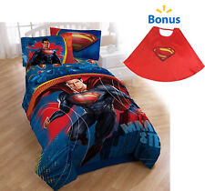 TWIN - Superman Man of Steel CAPE, DRAPES, SHEETS & REVERSIBLE COMFORTER SET