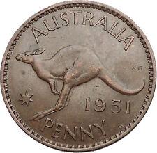 1951 AUSTRALIA King George VI of United Kingdom KANGAROO PENNY Coin i56141