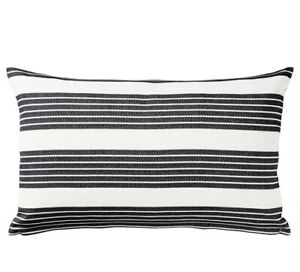 IKEA Metalisse cushion cover 16x24 Inches White/dark Gray Striped Pillow Case