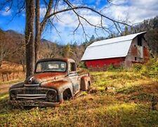 "34"" Fabric Panel - David Textiles Digitally Printed Rusty Truck Barn Wallhanging"